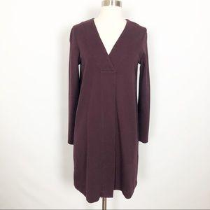 Massimo Dutti Maroon V Neck Shift Dress Small